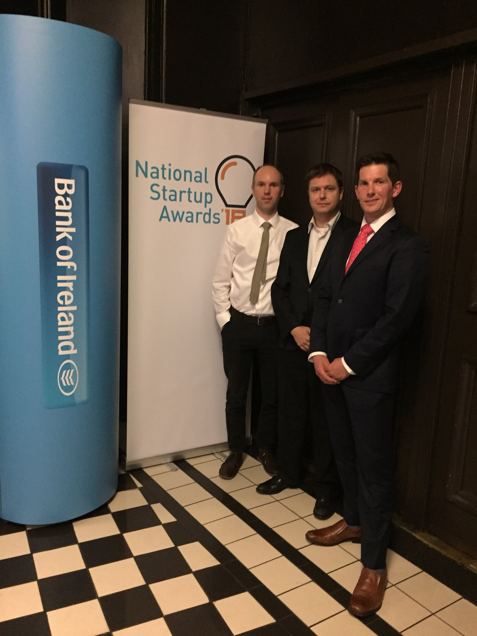 Capt Kris Vansteenkiste, Captain Darach O'Comhrai and F/O Justin Luke Perry of Frequency at the National Startup Awards in Dublin